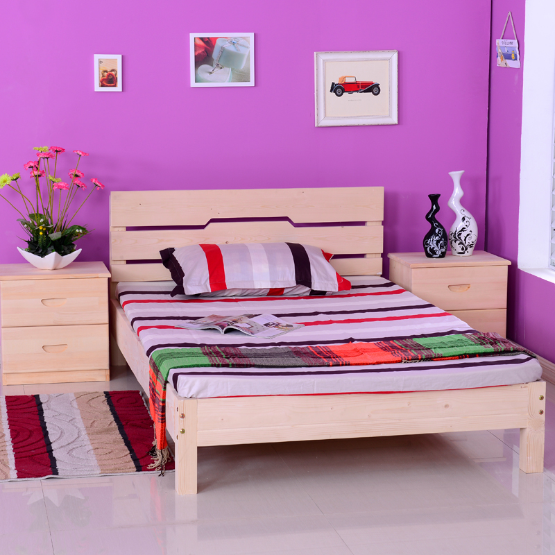 Кровать из массива дерева Solid wood bed 1.21.51.8 smile wk 5401