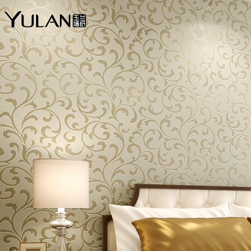玉兰墙纸 欧式无纺布立体植绒壁纸