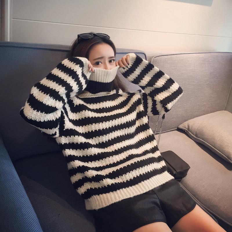 ISSDM定制 2015冬季新款韩版高领条纹长袖毛衣女针