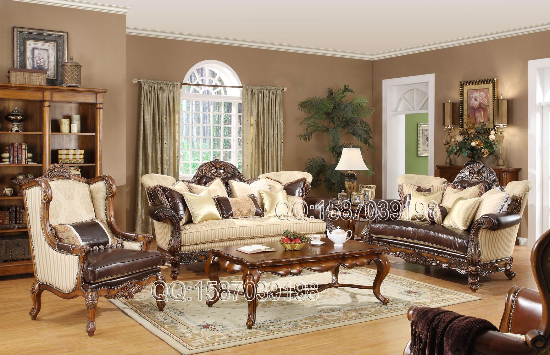 Диван из массива дерева Европейская классическая мебель из цельного дерева для высококлассных роскошных вилл американский ★ fw81-10 диван несколько небольшой прямоугольный журнальный столик