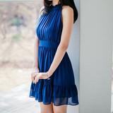 韩国名媛淑女挂脖性感露肩露背女神修身显瘦高腰荷叶边雪纺连衣裙