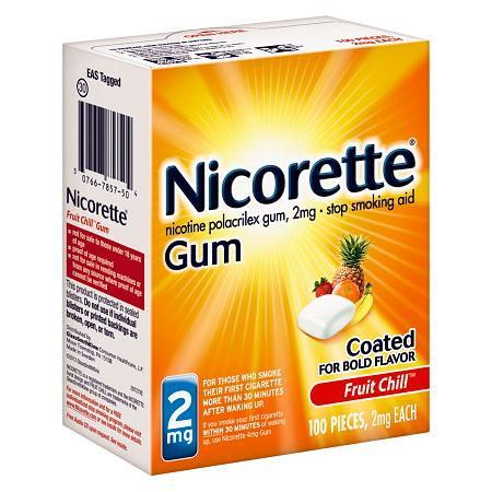 Nicorette  2mg 100 nicorette coated gum 2mg 100 pieces fresh mint personal healthcare health care