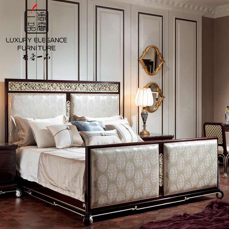 Кровать из массива дерева Luxury Elegance Furniture 1.5 1.8 XZS-097 кровать из массива дерева xuan elegance furniture