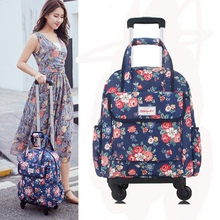 Portable pull rod for ladies'canvas bag waterproof printing suitcase universal wheel travel bag pull rod 16 inch 17 inch 20