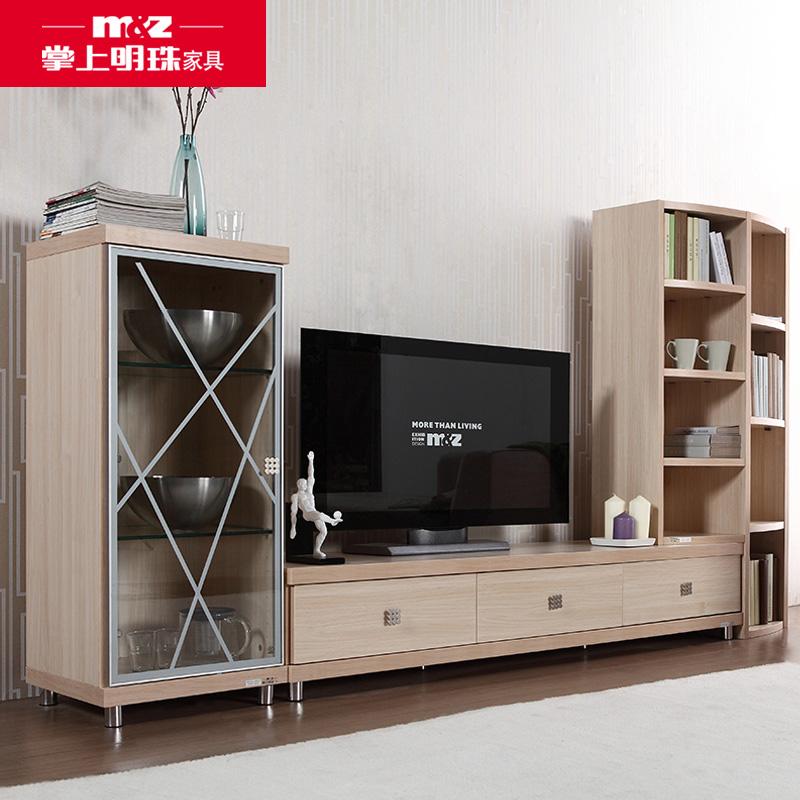 掌上明珠木纹浅色组合电视柜