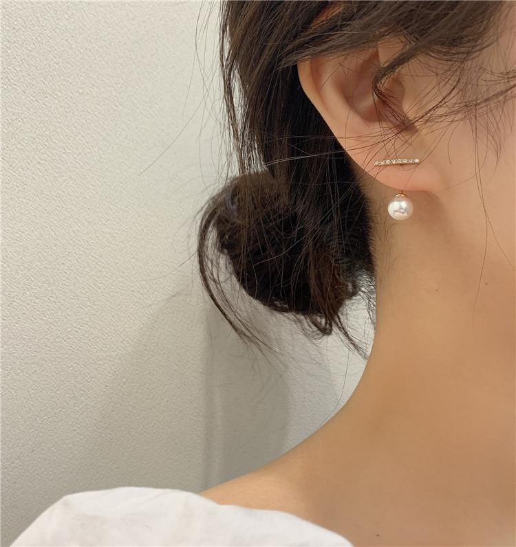韩国新款潮925银针简约水钻小一字珍珠耳钉百搭气质耳环少女耳坠