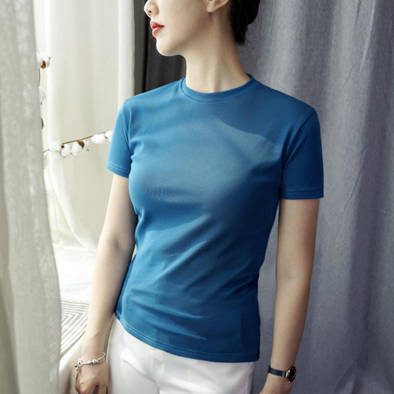 短袖t恤女短款修身打底衫夏白色纯棉小圆领上衣内搭抹茶绿新款潮
