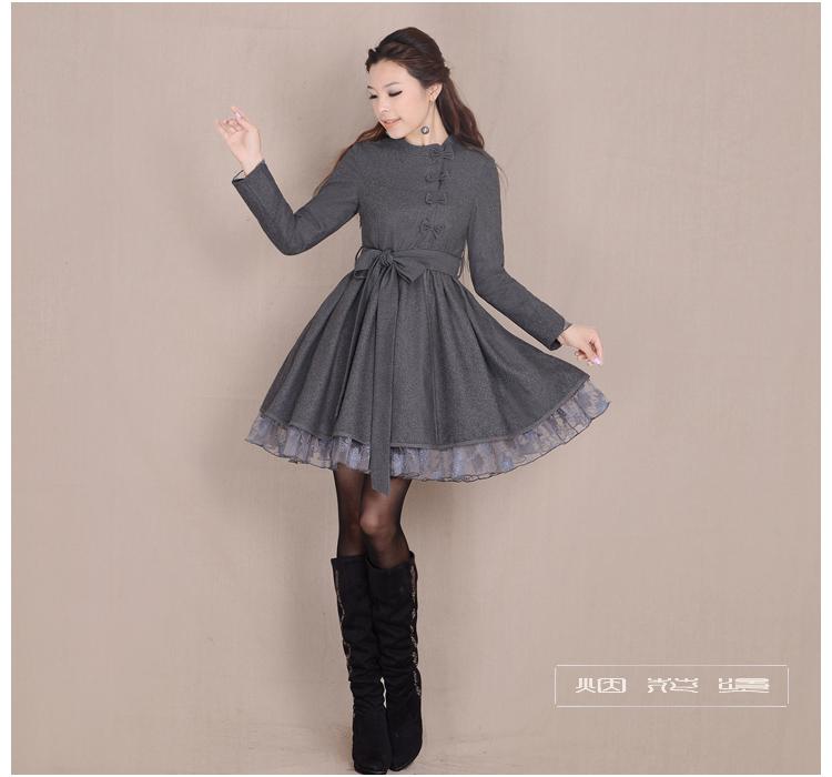 Женское платье Фейерверки горячей весной и осенью 2015 новых женщин темперамент slim минималистский платья с длинными рукавами и надеть шерстяные аромат фишки