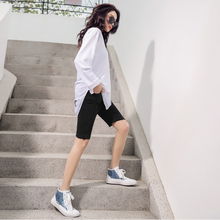 High-waist Jeans Shorts Women Summer 2019 New Black Straight Cylinder Outside Tight Elastic Riding Five-cent Pants