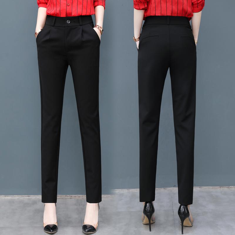 休闲裤女2020夏季新款黑色显瘦西装裤薄高腰长裤哈伦裤九分女裤子