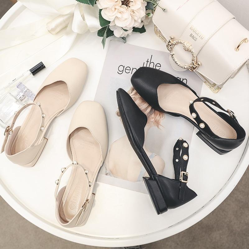 包跟平底凉鞋女夏方头2020新款中空一字带珍珠包头鞋夏季百搭单鞋