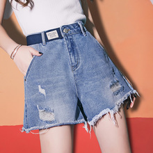 High-waist Jeans Shorts Female Summer 2019 New Style Loose Slim Net Red Hole A-Size Broad-legged Hot Pants Tide