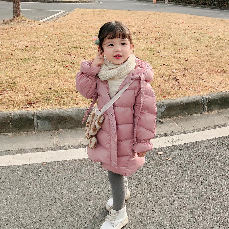 2019新款女童羽绒服儿童轻薄款小童宝宝中长款洋气冬装外套白鸭绒