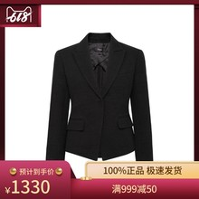 THEORY Black Cotton Flipped Collar Simple Leisure Lady's Suit Coat
