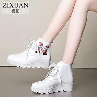 新款秋季女鞋子韩版潮鞋女厚底中跟短靴女真皮系带女靴子春秋单靴