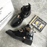 店主自留2016韩版新款英伦短靴女春秋粗跟单靴马丁靴PU皮休闲靴子