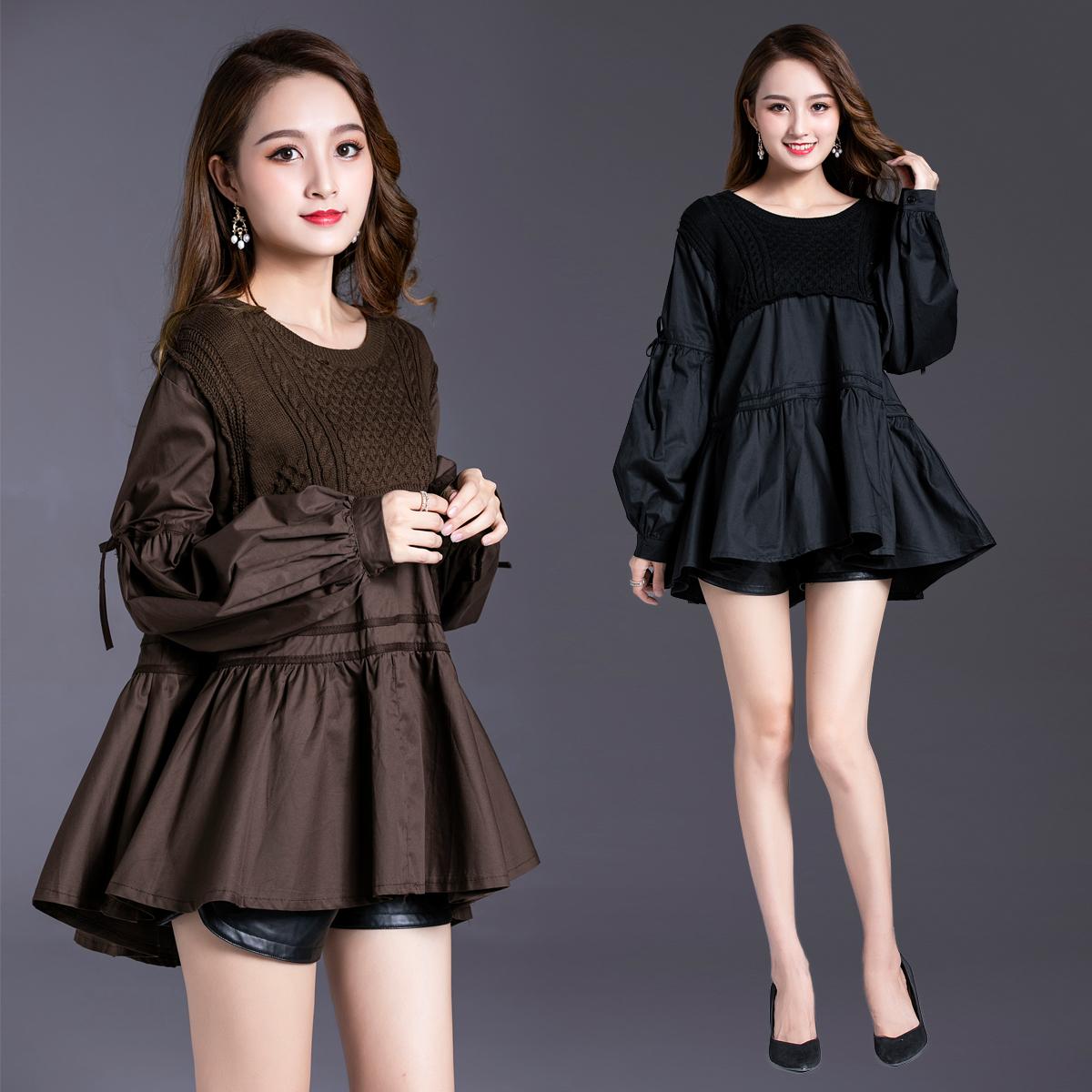 秋装新款遮肚子打底衫女装针织毛衣韩版娃娃衫洋气质蝙蝠衫上衣潮