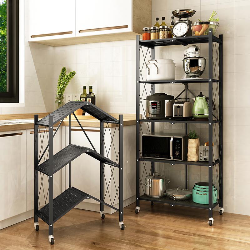 免安装厨房折叠置物架落地式多层微波炉烤箱储物收纳多功能锅架子