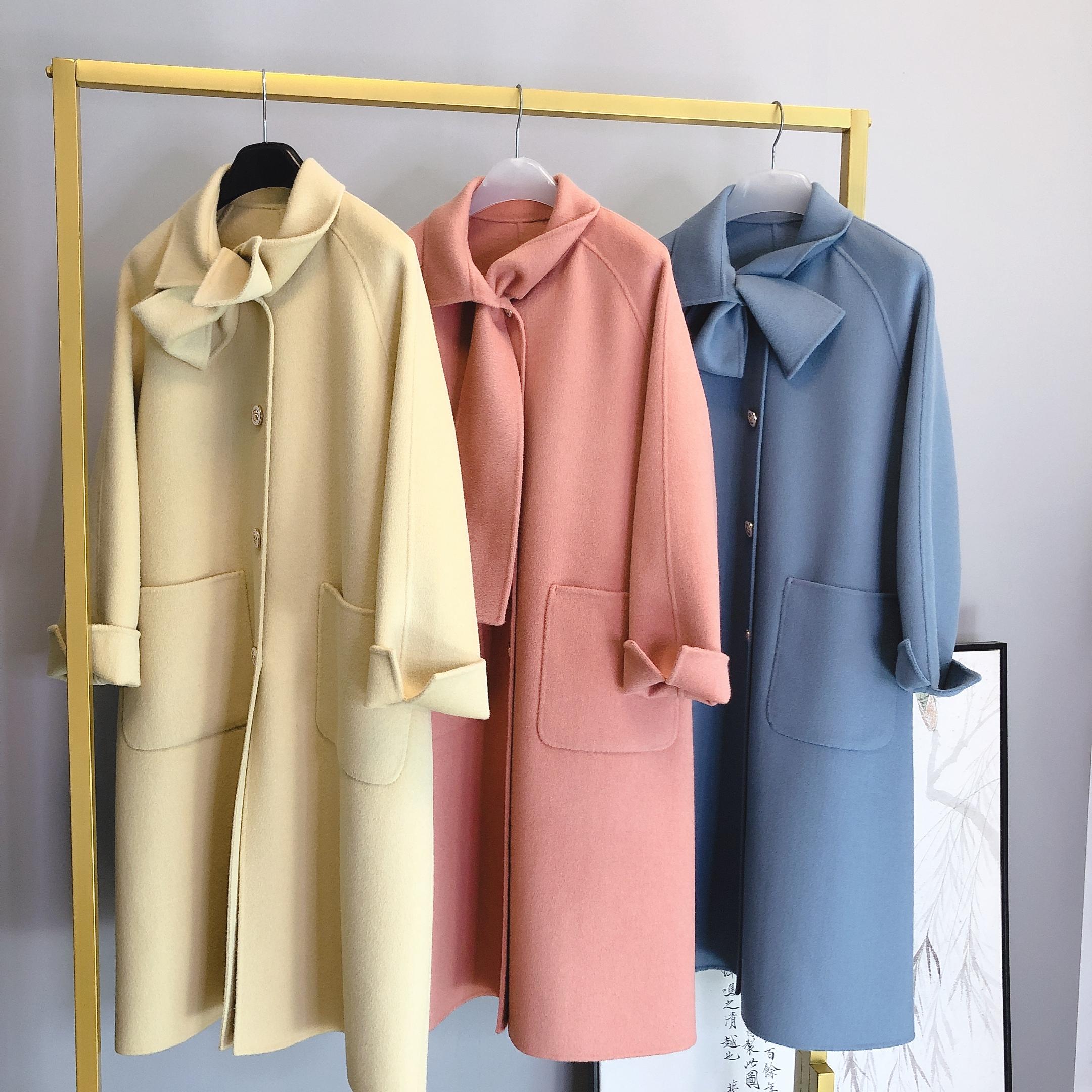 2020秋冬新款小个子双面呢羊绒大衣女中长款外套诺奇可
