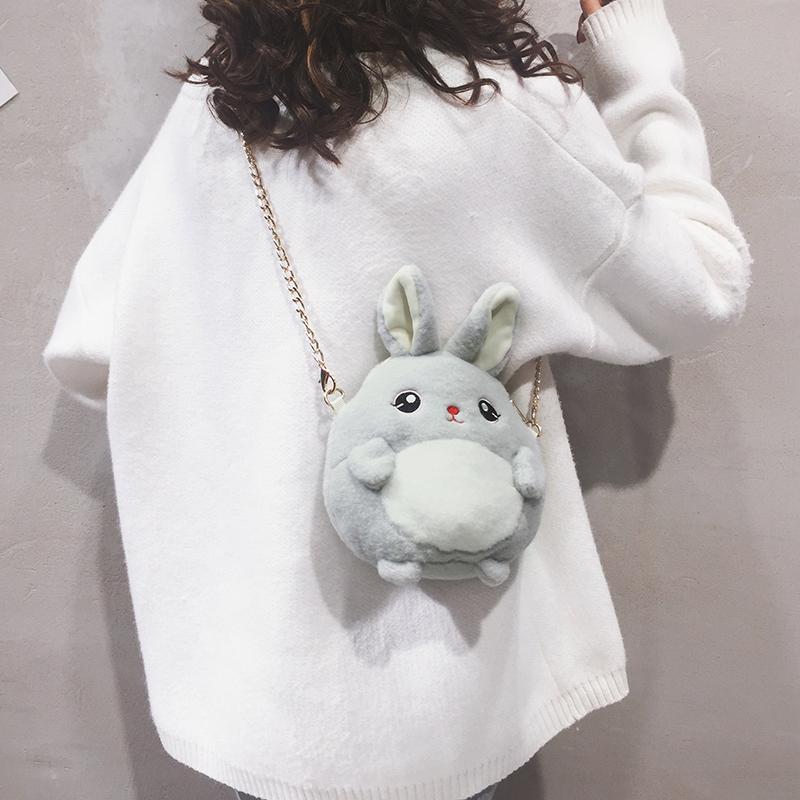 毛绒小包包女包新款2019秋季韩版百搭少女可爱时尚链条单肩斜挎包