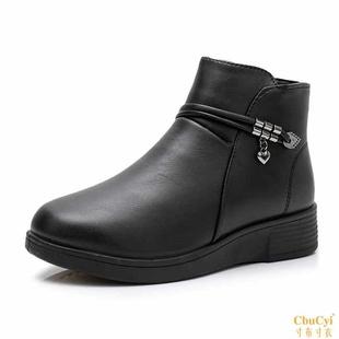 犀牛冬季妈妈鞋棉靴中筒靴短靴中年靴大妈加绒保暖棉鞋女鞋