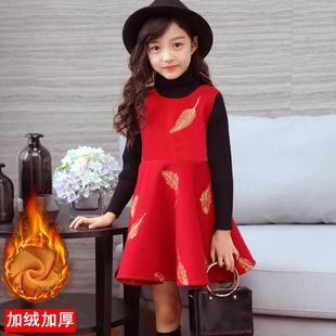 女童洋气连衣裙秋冬款2018韩版公主红色新年装加绒加厚保暖裙子春