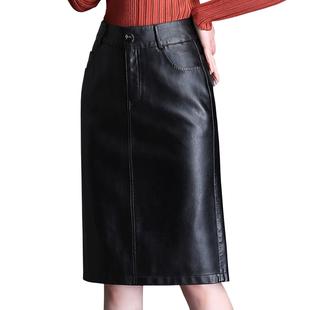 2018秋冬半身裙PU皮包臀裙一步裙显瘦OL大码中长款女士黑色短裙子