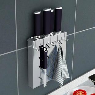 304不锈钢厨房放菜刀架壁挂式多功能刀架碗架砧板架免打孔挂墙上