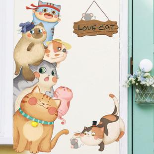 卡通儿童房间墙壁装饰猫咪房门贴幼儿园布置自粘墙贴画墙面上贴纸