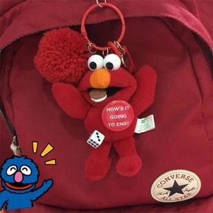 芝麻街钥匙扣女韩国可爱创意毛绒挂饰艾摩书包包挂件公仔小