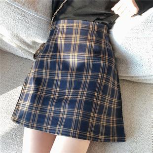 复古格子半身裙女2019春季韩版百搭chic高腰显瘦A字包臀短裙学生