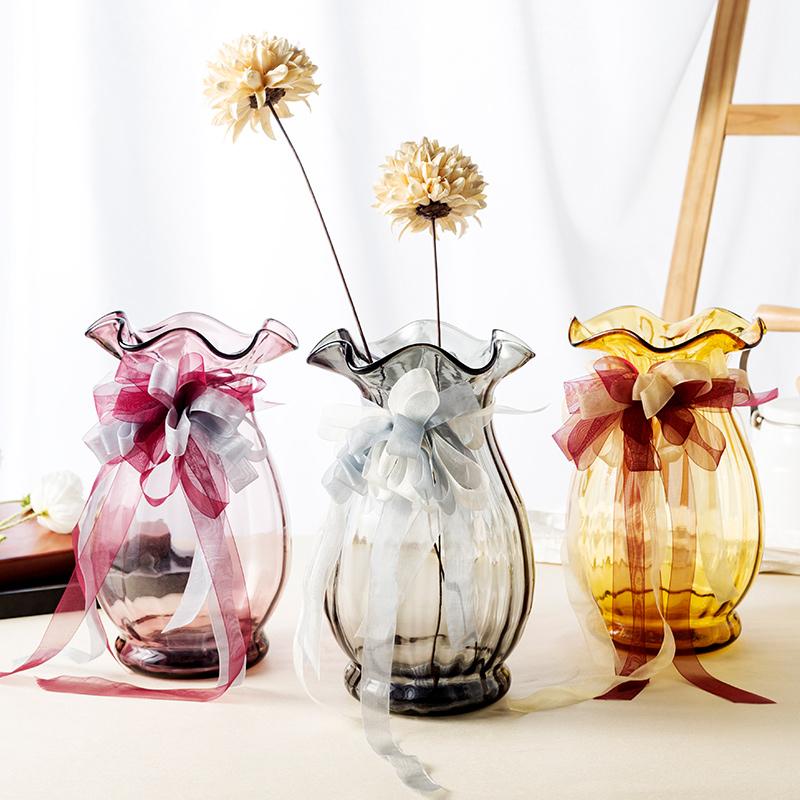 透明玻璃花瓶摆件客厅插花瓶北欧式彩色创意ins富贵竹百合大花瓶