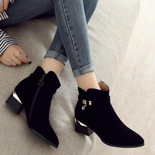 小短靴女2018新款马丁靴女英伦风磨砂短靴粗跟中跟秋冬季网红靴子