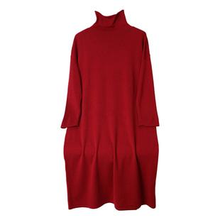欧美秋冬高领羊绒衫女宽松毛衣针织打底衫外套中长款羊毛连衣裙