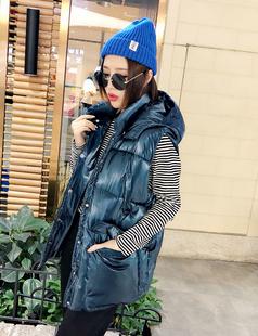 欧洲站女装短款棉马甲冬新款时尚蓝色亮面宽松羽绒棉衣马夹面包服