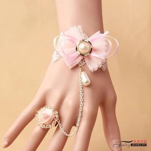 蝴蝶结手链粉色少女心蕾丝手链戒指一体表演饰品lolita手部儿童