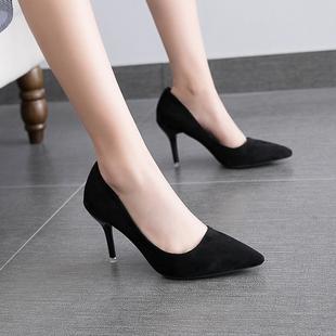 网红高跟鞋抖音小清新女尖头细跟单鞋红色婚鞋工作鞋黑色礼仪秋冬