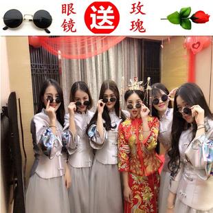 中式伴娘服2018秋冬新款立领粉色伴娘团新娘结婚长款姐妹裙显瘦女
