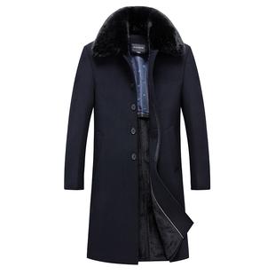 中年毛呢大衣男长款翻领男士大衣爸爸装加绒加厚冬装羊毛尼外套
