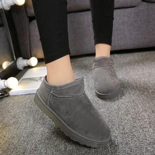 2018韩版懒雪地靴女靴子加绒低帮短靴一脚蹬学生棉鞋休闲面包鞋潮