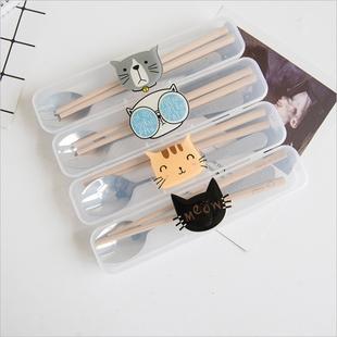 创意个性猫便携餐具筷子勺子套装可爱三件套学生叉子精品儿童筷盒