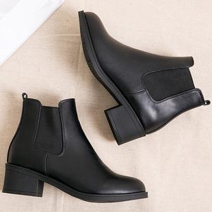 春秋中跟女短靴圆头切尔西靴马丁靴百搭英伦学生靴子黑皮靴及踝靴