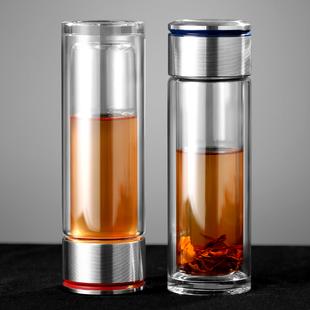 茶水分离双层玻璃泡茶杯子办公室一键便携耐高温加厚隔热男士水杯