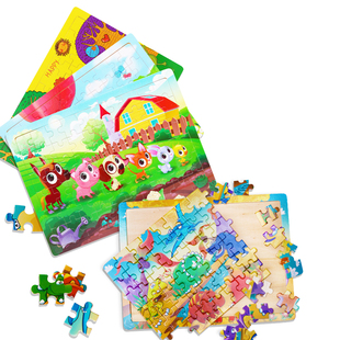 60片木质拼板儿童积木玩具男女孩拼图