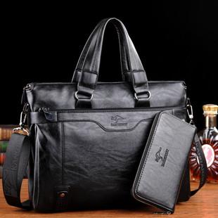 凌智袋鼠男士手提包公文包休闲商务男式单肩包软皮休闲时尚电脑包