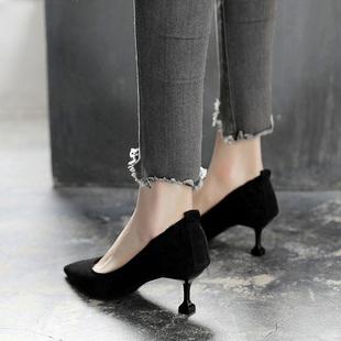 高跟鞋春季2018新款女高跟鞋百搭细跟浅口尖头单鞋5cm通勤秋鞋女