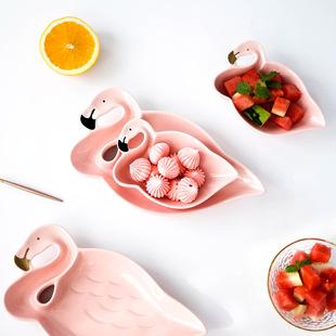 ins北欧火烈鸟陶瓷餐具瓷早餐盘甜品碗菜盘小碗水果盘糖果零食盘