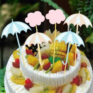 新款雨伞烘焙蛋糕插牌 婚礼甜品台装饰牌 儿童生日蛋糕装饰用品现