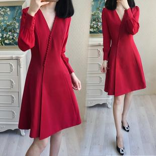 大码女装2018春秋装新款胖mm遮肚洋气连衣裙胖妹妹红色法式显瘦裙