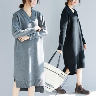 胖妹妹大码毛衣女200斤长款冬装秋洋气减龄时尚V领打底针织连衣裙